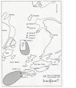 1971 site plan of the Kennemerland by K. Muckelroy & R. Price, published in the International Journal of Nautical Archaeology.
