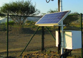 An automatic weather station powered by a solar panel.