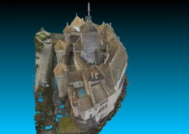 Point cloud of full model of castle, shown from the front