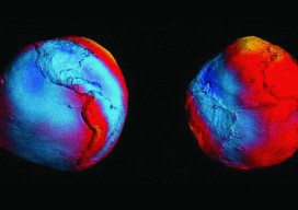 In this most accurate model of the geoid (by the European Space Agency's GOCE mission), the colors represent deviations in height from an ideal  geoid. Courtesy of ESA/HPF/DLR.