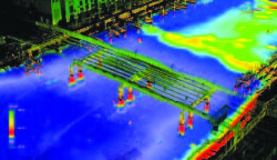 This image of structures in Garrison Channel in Tampa, Florida, was made using an Optech ILRIS laser scanner combined with a Teledyne RESON sonar.