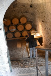 Data acquisition in the cellar of the castle with a Canon 6D equipped with a fisheye lens, on a tripod (image taken every 2 meters)