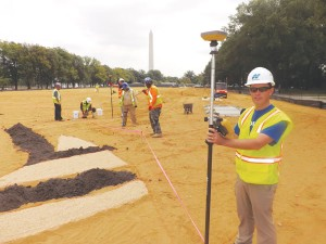 Scott Langbein, Topcon's director of product marketing, shows how GNSS is used to create the Facescape art installation on the National Mall.