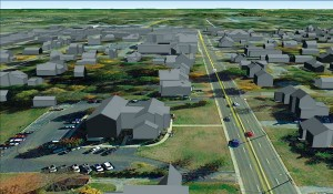 Atlantic extruded the 3D buildings using a combination of the final footprints and lidar point cloud.  The 3D buildings delivered in a Google Earth mash-up make for easy use by law enforcement officials without a GIS background.