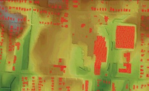 Individual lidar points were classified as buildings prior to the vector extraction process to create the building outlines.