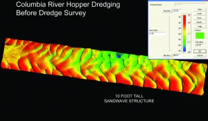 Pre-dredge survey of a section of the Columbia River.