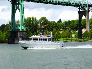 The Redlinger, one of four survey vessels owned and operated by the Portland District of the U.S. Corps of Engineers, surveys the Columbia and lower Willamette rivers.