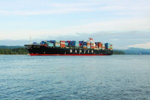 The Hanjin London cargo ship, capable of carrying about 67,000 metric tons, transits the Columbia River channel on its way to the Port of Portland, the fourth-largest port on the West Coast.