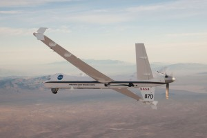 NASA's unmanned research aircraft Ikhana B has a wingspan of 66 feet and is 36 feet long; it can carry more than 400 pounds of sensors internally and more than 2,000 pounds in external under-wing pods. Credit: NASA/Carla Thomas.