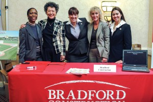 Members of the Bradford Construction team (l to r): Arsenia Palacios, Catherine Yang, Sandra Wilkin, Barbara McDermott, and Christine Rage.