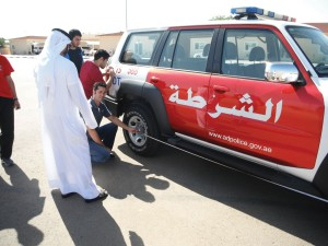 In Al Ain, the United Arab Emirates, traffic police students take a training course in the proper use of measurement.