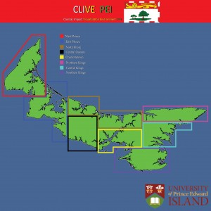 The main menu of the CLIVE interface showing all of Prince Edward Island.