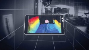 A simulated image of Google's Project Tango device in operation overlaid on video and gridlines.