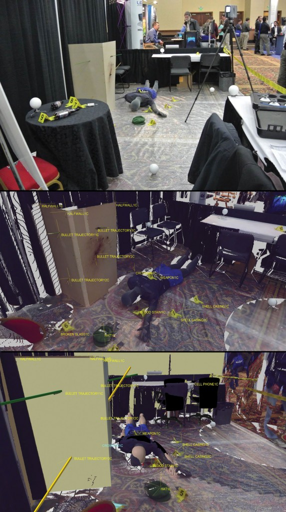 This scene was created at a  trade show (in Trimble's Visual Statement software booth) to  demonstrate forensics software  and total stations for police officers. Officers were trained on site  to collect the data using the total  station, download it into the  software, and recreate the scene in minutes, including bullet trajectories.