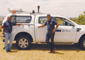 Sanjeev Hirachund (right) and Sipho Shabalala, senior surveyor, pose in front of Eskom's mobile scanning system. - See more at: http://www.xyht.com/energyutilities/power-scanning/#sthash.AsawhzMW.dpuf