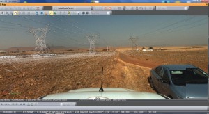 "A screenshot from their  processing and imaging suite shows the view of power lines as ""seen"" by the mobile mapping system."