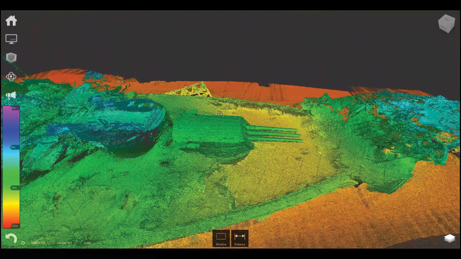 3D view of the forward section of the USS Arizona, combining a point cloud of multiple data sources for a never-before-seen view.