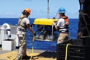 NOAA and UNCW scientists  deploy SubAtlantic Mohawk  18 ROV from the NOAA ship Nancy Foster.