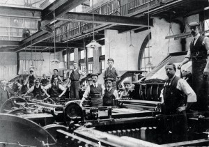 One of the largest single sources of maps worldwide, for both military and civilian uses, the Ordnance Survey of the UK pioneered many lithographic and offset printing methods. Pictured is the print floor in 1920.