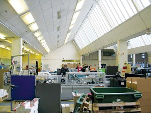 The printing facility on the ground floor of the William Roy building of the Ordnance Survey in 2010.