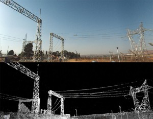 Digital imagery and point cloud data of a substation in Trimble Trident Imaging Hub.