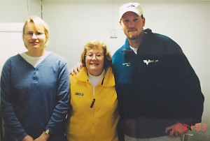 Darcy Merritt who survived the decline of her job as lab manager running the film photo lab by transitioning her skills to the computer-based production of orthophotos; at center is Cathy Graville (now owner of VAP); at right is Nate Pickens who served as the first pilot Cathy hired after Richard's death.