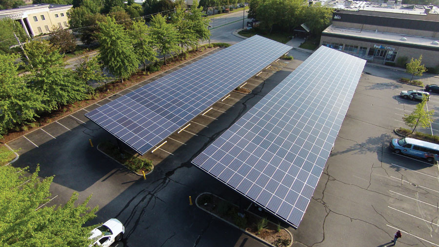 Blue Oak Energy uses a multidisciplinary engineering team to plan solar installations, such as this car port at an REI store.