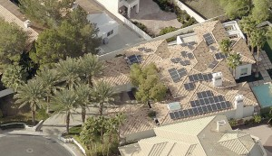 Using an oblique view obtained from aerial imagery (at two inches per pixel resolution), solar installers can determine  obstructions that cast shadows on parts of a roof. Credit: Pictometry.