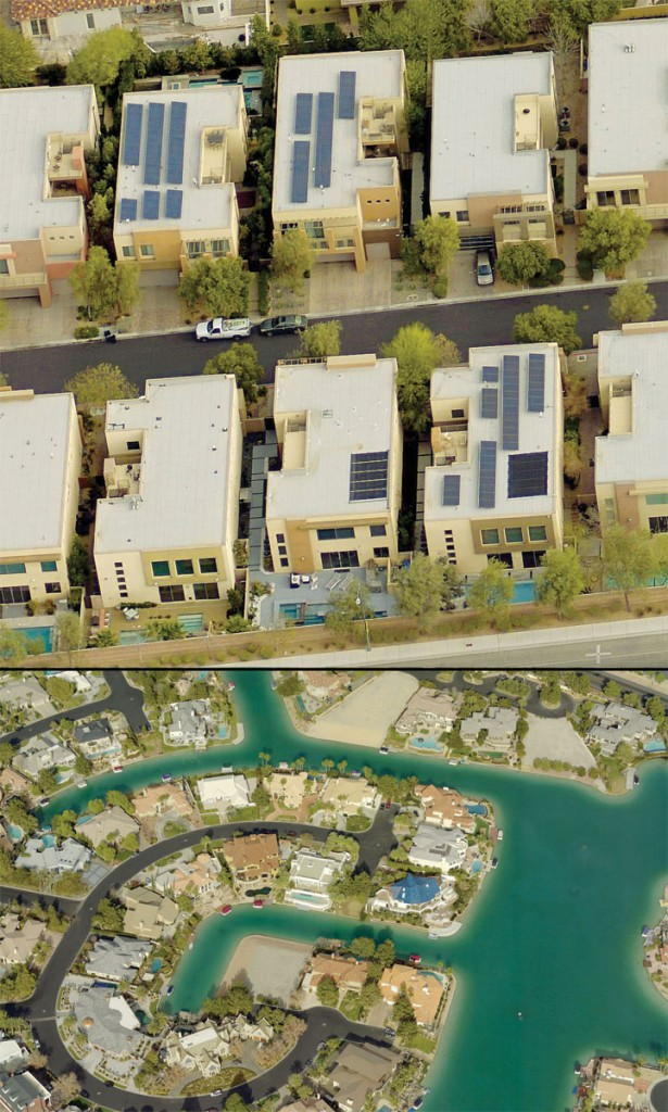 An oblique view is a geocoded view at a 45-degree angle; satellites cannot capture this view. Obliques are used by public safety, valuation, and construction professionals to get a high-resolution view of all sides of a building. Credit for both images: Pictometry.