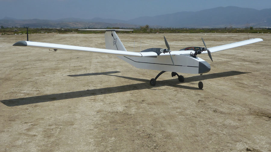 The Gemini long-range RC airplane can fly more than 40 miles autonomously while carrying a three-pound payload for two hours. First-person view on a ground-controlled gimbal allows a full 360-degree view of the operating environment in addition to the belly-mounted payload camera.