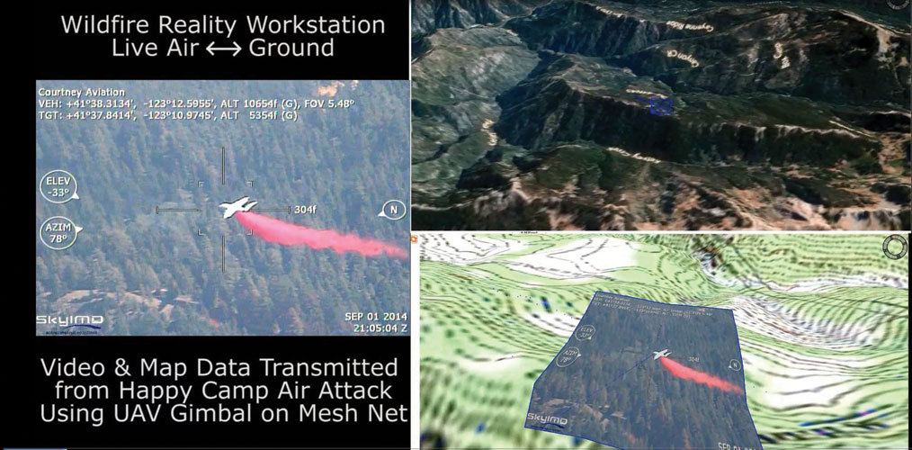 Above: Retardant delivered by an air tanker on the Happy Camp Complex wildfire is captured on video for post-mission debrief. Mapping fire retardant drops is critical for fire-crew safety and environmental, training, and fire-suppression effectiveness. Note the bottom-right of image showing virtual reality image overlay on contour map.