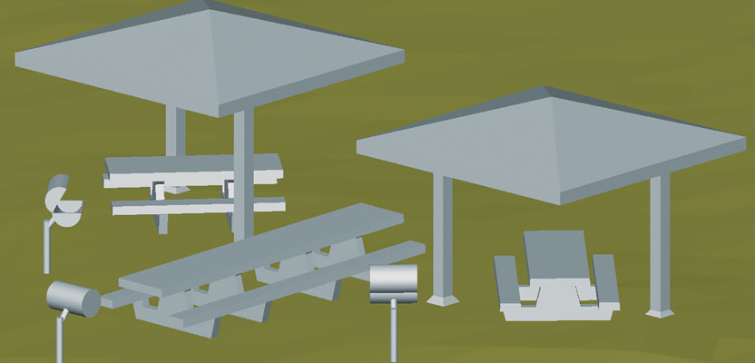 Isometric view of 3D model of centralized benches, barbeques, and gazebos at Prescott National Forest.