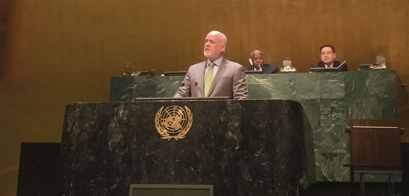 "Ambassador Peter Thomson, Fiji's permanent representative to the United Nations, presents to the General Assembly the resolution titled, ""A global geodetic reference frame for sustainable development."""