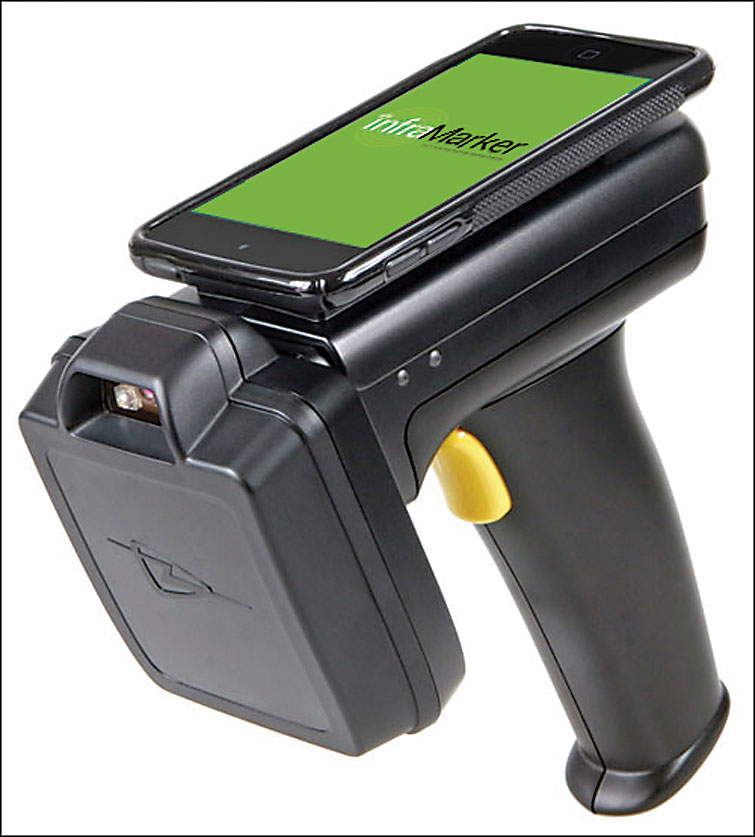 RFID systems like Berntsen's  InfraMarker typically come  with enterprise software,  mobile apps, and recommend readers. This TSL 1128 is set up with a cradle for a Samsung smartphone.