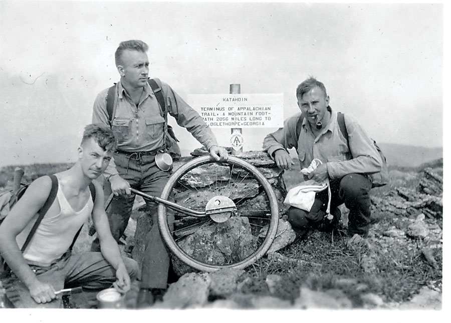 Albert Jackman, Myron Avery, and Frank Schairer on Mount Katahdin, Maine in 1933. Credit: Appalachian Trail Conference.