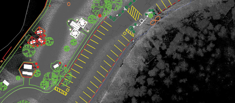 An overhead view of lidar  data with planimetric  overlay.