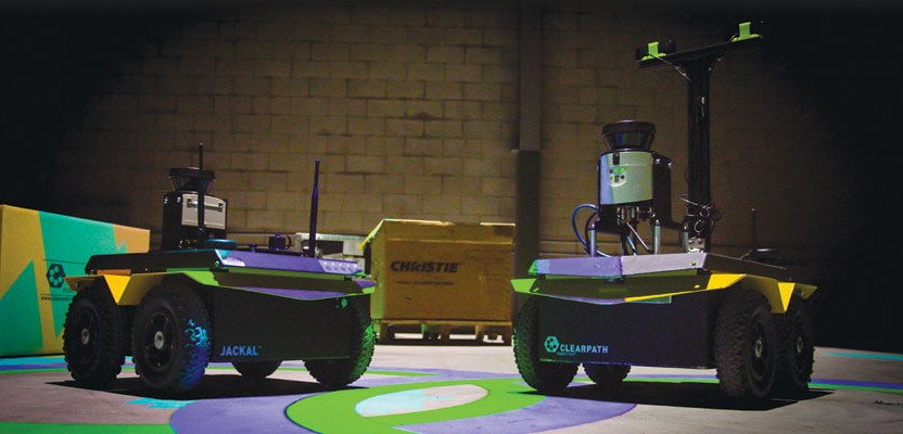 The geospatially aware Jackal robots are configured with different imaging and navigation systems depending on the needs of the autonomous application.
