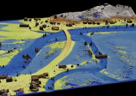 Simulated flood conditions created using the terrain model and the software, Quick Terrain Modeler.
