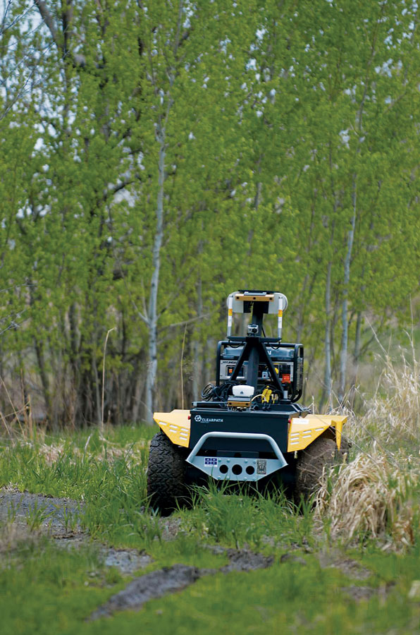 Service robots like the Grizzly robotic utility vehicle can take specialized forms for different applications.