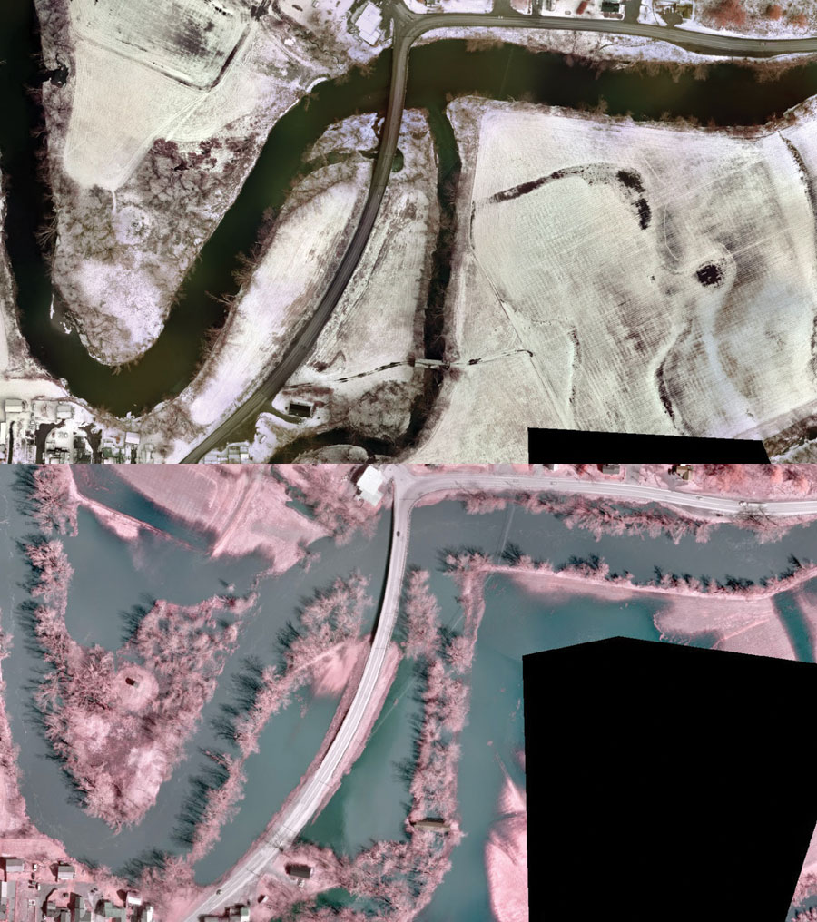 Top: Color infrared  imagery collected on April 9 prior to any flooding. Bottom: Color infrared  imagery collected  six days later showing evidence of flooding.