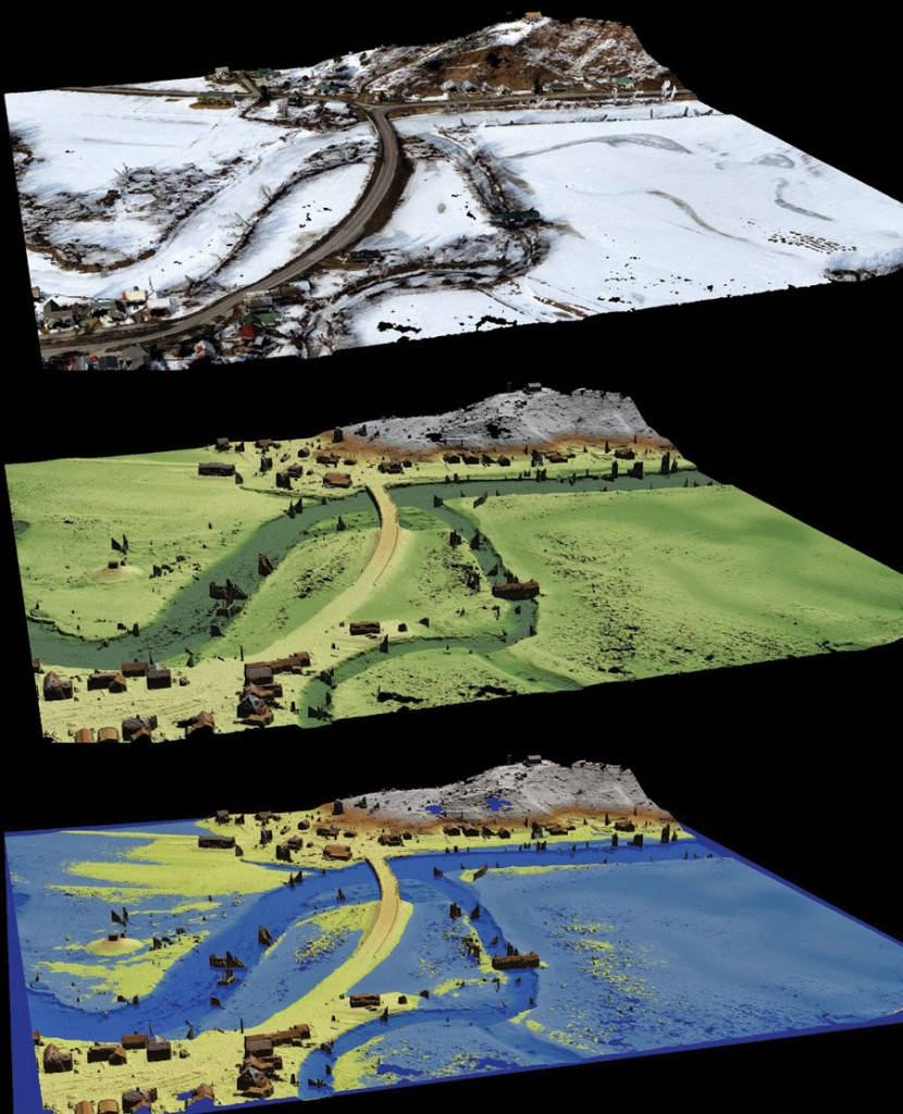 Top: 3D point cloud from an eBee flight on March 20, 2015 to monitor flooding for a U.S. Dept. of Transportation project. Middle: 3D terrain model generated from the point cloud. Bottom: Simulated flood conditions created using the terrain model and the software, Quick Terrain Modeler.
