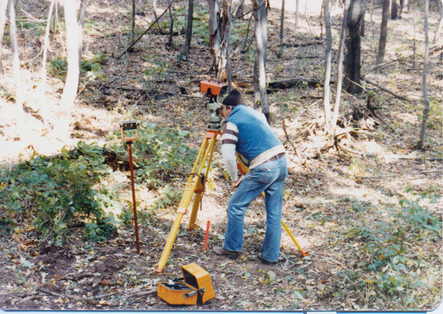 NSP land surveyor David Hurst surveys part of the trail in Vermont in 1981.