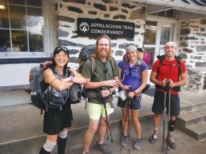 Thru-hikers pose at the ATC in Harpers Ferry, WV, known as the mid-point of the trail.