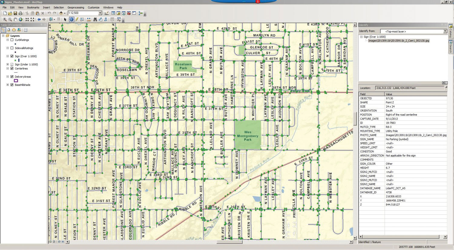 This ArcGIS Geodatabase was  delivered to the Indianapolis DPW.