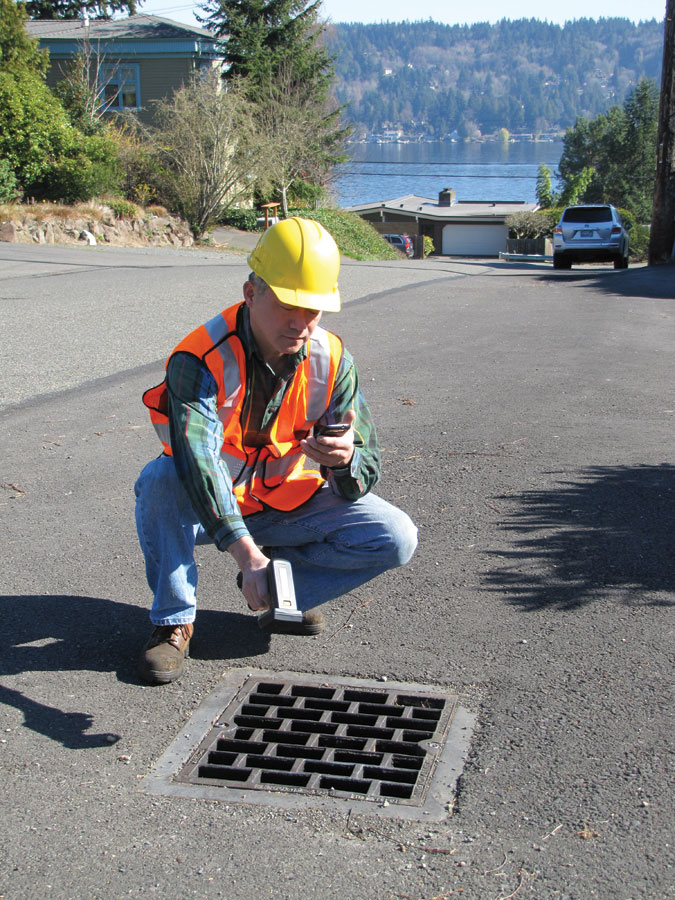 The proliferation of mobile devices and cloud-capable mapping apps like Trimble TerraFlex enables crews to improve service and reduce costs by providing real-time validation and access to infrastructure data. Peripherals like high-precision GPS/GNSS receivers and other test sensors can be paired with mobile devices; in this example a handheld RFID reader has been paired with a smart phone.