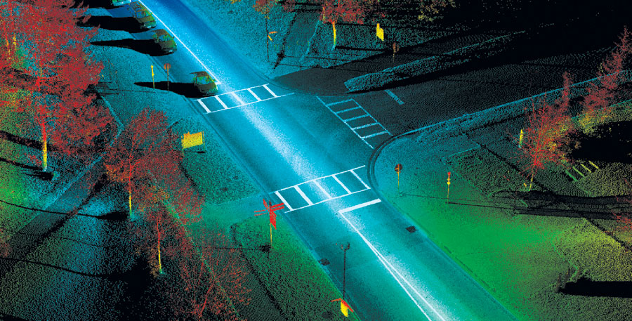 This lidar point-cloud data contains billions of x, y, z points, where you can identify multiple assets including signs, light poles, curbs/sidewalks, catch basins, and paint markings.