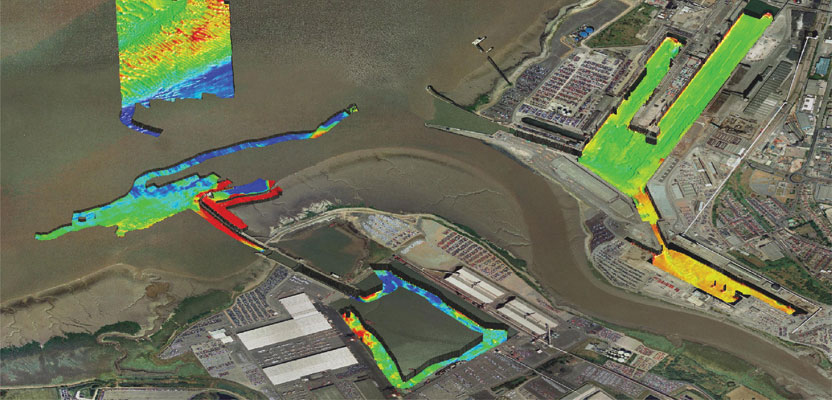This data was gathered in shallow water in and around Bristol docks, UK and processed with GeoSwath, an echosounder by Kongsberg Maritime.