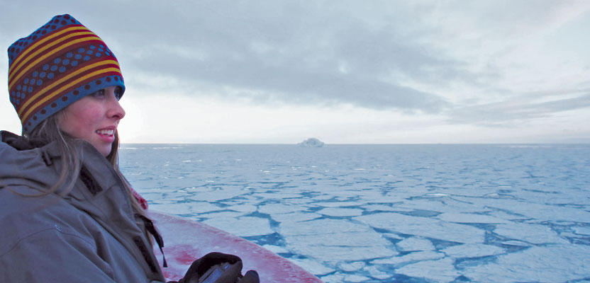 Shannon Hoy on the bow of the RVIB Nathaniel B. Palmer as she crossed through the Bransfield Strait in 2011. Photo by A. Margolin.