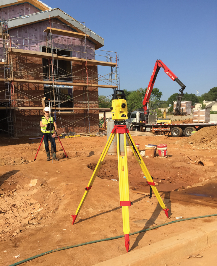 Office meets field: Autodesk's BIM 360 Layout software, running on an iPad, is operating this Leica iCON robot 50.