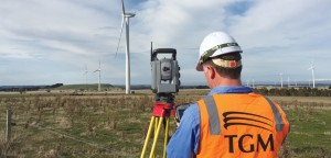 Senior surveyor Nathan Farrell tasks the Trimble S8 and TSC3 controller at the Mt Mercer Wind Farm. TGM was able to provide all survey tasks with a one-person crew.